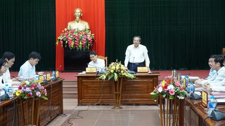 Đồng chí Hoàng Đăng Quang, Bí thư Tỉnh ủy phát biểu kết luận buổi làm việc.