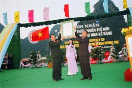 Lễ đón nhận Bằng Di sản Thiên nhiên Thế giới Vườn quốc gia Phong Nha - Kẻ Bàng