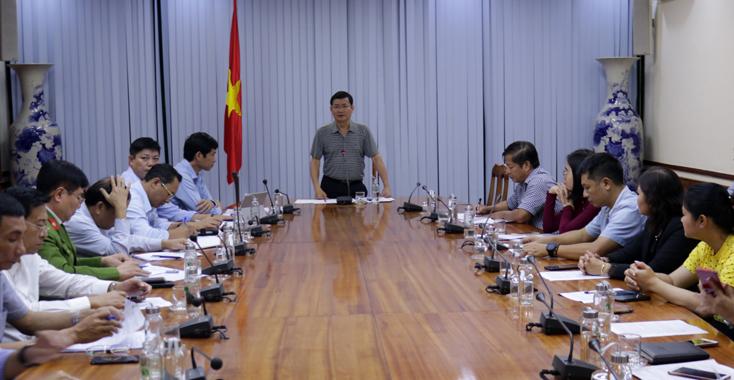 Đồng chí Trần Tiến Dũng, Phó Chủ tịch UBND tỉnh phát biểu tại buổi làm việc.